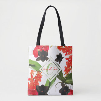 Black and Red Orchids Art Watercolor Monogram Tote Bag