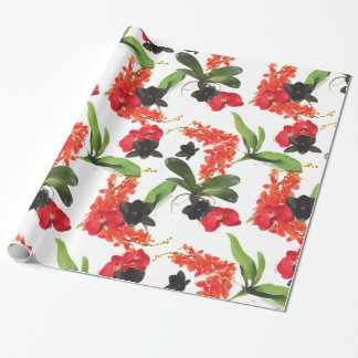 Black and Red Orchids Art Watercolor Wrapping Paper