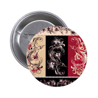 Black and Red Ornate Floral Button