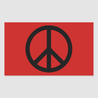 Black and Red Peace Symbol Sticker