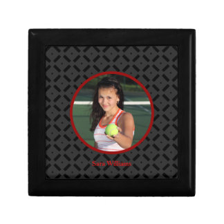 Black and Red Photograph Tile Box Trinket Boxes