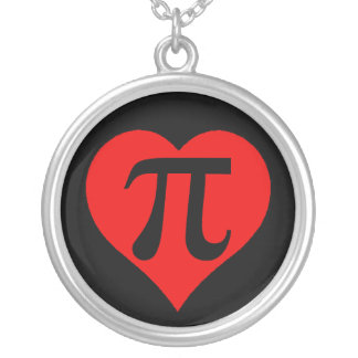 Black and Red Pi Heart Silver Plated Necklace