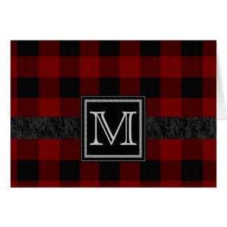 Black and Red Plaid Monogram Card