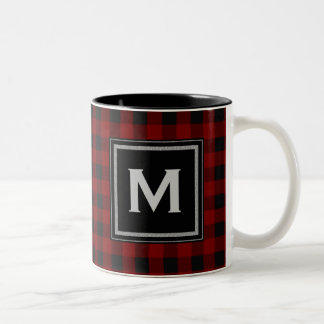 Black and Red Plaid Monogram Two-Tone Coffee Mug