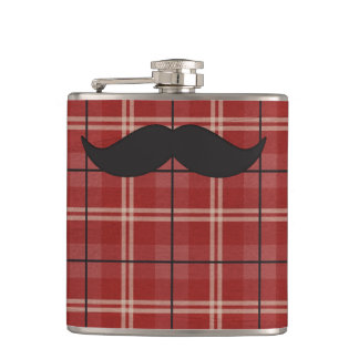 Black and Red Plaid Mustache Hip Flask