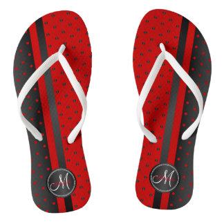 Black and Red Polka Dots - Monogram Flip Flops