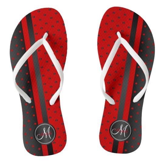 Black and Red Polka Dots - Monogram Flip Flops