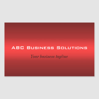 Black and Red Rectangular Business Sticker