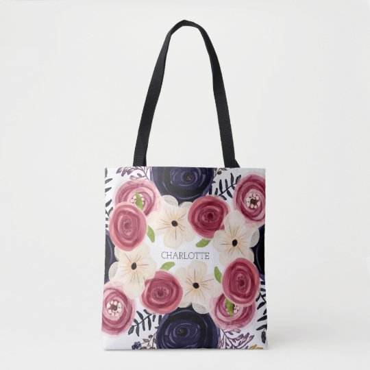 Black And Red Rose Flower Watercolor Personalized Tote Bag