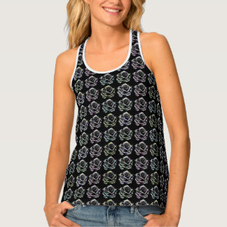 Black and Red Rose Patterned Tank Top