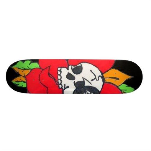 Black and Red Rose Skull Board Skate Board