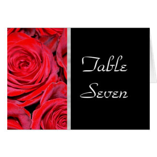 Black and Red Roses Table Number Card