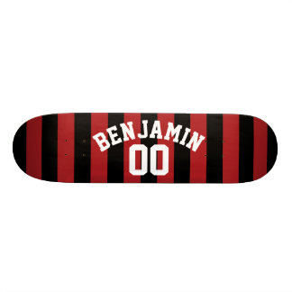 Black and Red Rugby Jersey Stripes Name Number Skate Board Decks
