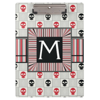 Black And Red Skulls Pattern With Initial Clipboard