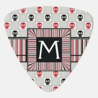 Black And Red Skulls Pattern With Initial Guitar Pick