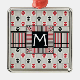 Black And Red Skulls Pattern With Initial Silver-Colored Square Ornament