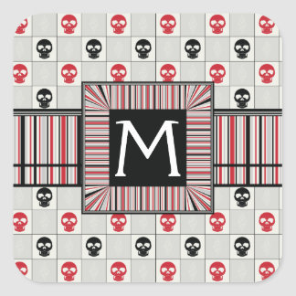 Black And Red Skulls Pattern With Initial Square Sticker
