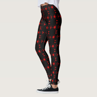 Black And Red Solar System Patterned Leggings