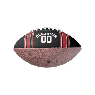 Black and Red Sports Jersey Custom Name Number Football
