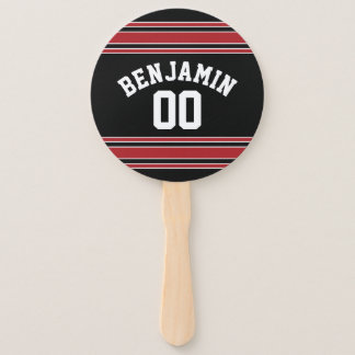 Black and Red Sports Jersey Custom Name Number Hand Fan