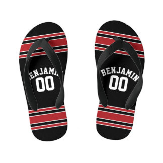 Black and Red Sports Jersey Custom Name Number Kid's Flip Flops