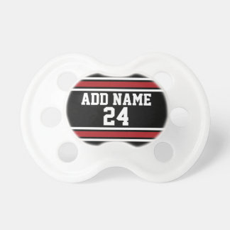 Black and Red Sports Jersey Custom Name Number Pacifier