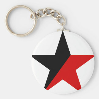 Black and Red Star Anarcho-Syndicalism Anarchism Keychain