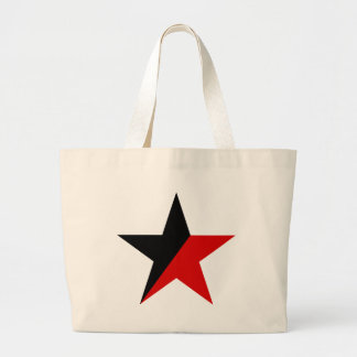 Black and Red Star Anarcho-Syndicalism Anarchism Large Tote Bag