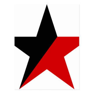Black and Red Star Anarcho-Syndicalism Anarchism Postcard