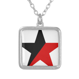 Black and Red Star Anarcho-Syndicalism Anarchism Silver Plated Necklace