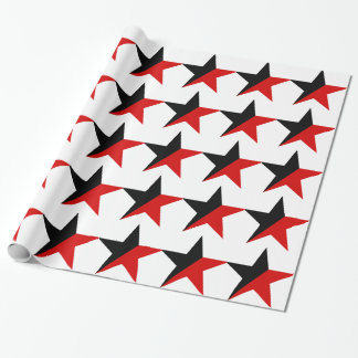 Black and Red Star Anarcho-Syndicalism Anarchism Wrapping Paper