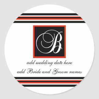 Black And Red Stripe Monogram B Reminder Stickers