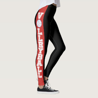 Black and Red Stripe with White Volleyball Leggings
