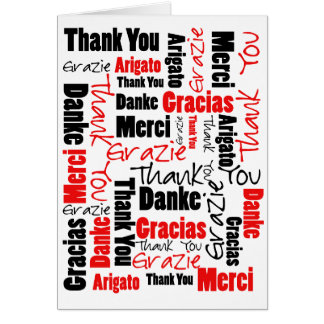 Black and Red Thank You Word Cloud Card
