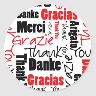 Black and Red Thank You Word Cloud Classic Round Sticker