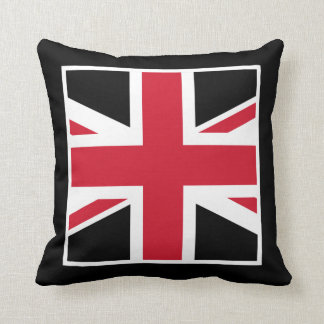 Black and Red Union Jack Throw Pillow