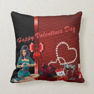 Black And Red Valentine Throw Pillow