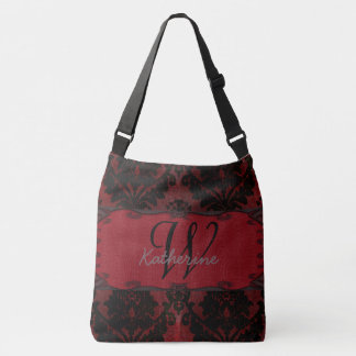 Black And Red Vintage Damask Grunge Style Crossbody Bag