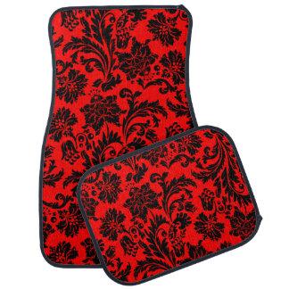Black And Red Vintage Floral Damasks 4 Car Mat