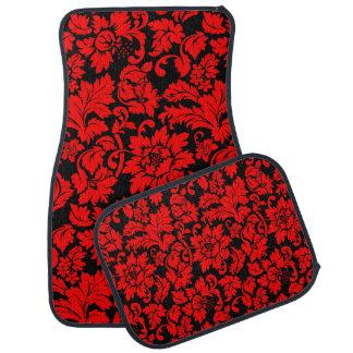 Black And Red Vintage Floral Damasks Car Mat