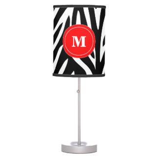 Black and Red Zebra Monogram Lamp Shade