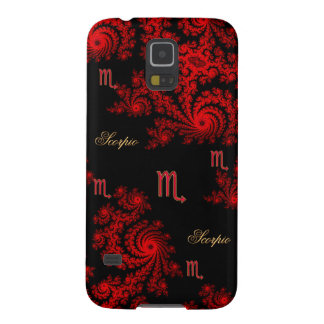 Black and Red Zodiac Sign Scorpio Fractal Galaxy S5 Cover