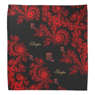 Black and Red Zodiac Sign Scorpio Fractal Head Kerchief