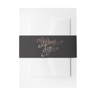 black and rose gold belly band invitation belly band