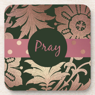 Black and Rose Gold  Floral PRAY Coaster