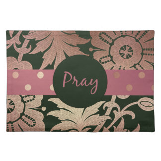 Black and Rose Gold  Floral PRAY Placemat