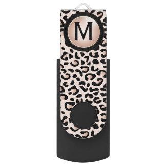 Black and Rose Leopard Animal Print   DIY Monogram Swivel USB 2.0 Flash Drive