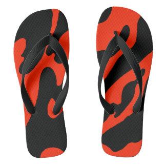 Black and Scarlet Camo Flip Flops