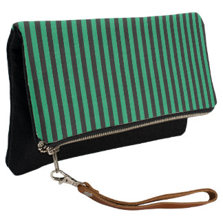 Black and Shamrock Green Stripe Clutch