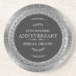 Black And Silver 25th Wedding Anniversary Design Beverage Coaster